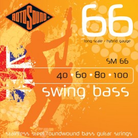 Rotosound Swing Bass 40-100 Hybrid Stainless Steel Bass Guitar Strings SM66