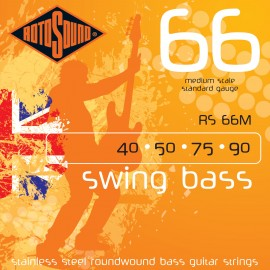 Rotosound Swing Bass 40-90 (Medium Scale) Stainless Steel Bass Guitar Strings RS66M