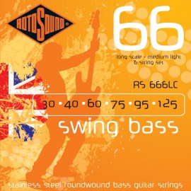 Rotosound 6 String Swing Bass 30-125 Medium-Light Stainless Steel Bass Strings RS666LC