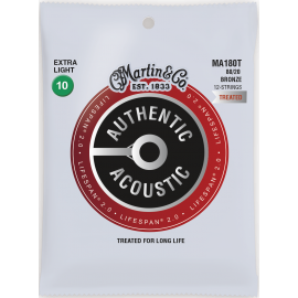 Martin 12 String Lifespan SP 10-47 Extra Light 80/20 Bronze Acoustic Guitar Strings MA180T