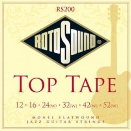 Rotosound RS200 'Top Tape' Stainless Steel Monel Flatwound, Jazz Electric Guitar Strings 12 - 52