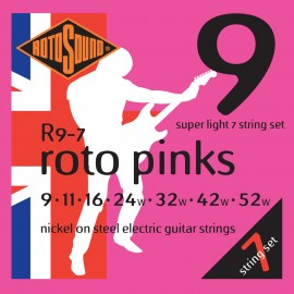 Rotosound R9-7 'Roto Pinks' Nickel on Steel, 7 String Super Light Electric Guitar Strings 09 - 52