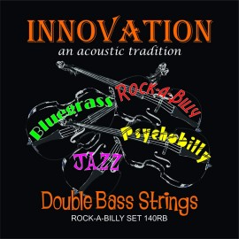 Innovation ROCK-A-BILLY Double Bass Medium Tension Black Nylon Tape Wound Set 90140RB