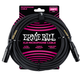 Ernie Ball Black 25ft Tangle Resistant Microphone Cable P06073