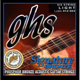 Ghs Signature Bronze 12-54 Light Cryogenically Treated Phosphor Bronze Acoustic Guitar Strings LJ30L