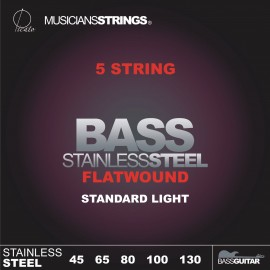 Picato 5 String Flatwound 45-130 Standard Light Stainless Steel Bass Strings 766LFW5