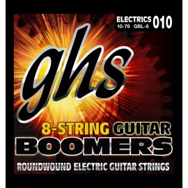 Ghs 8 String Boomers 10-76 Light Nickel Wound Electric Guitar Strings GBL-8